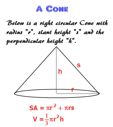 Using area of a circle to determine volume and surface area of a cone.