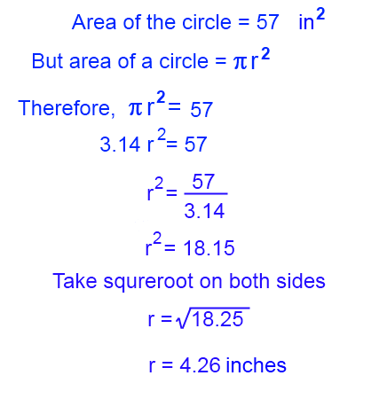 Steps to find radius of a circle when its area is given