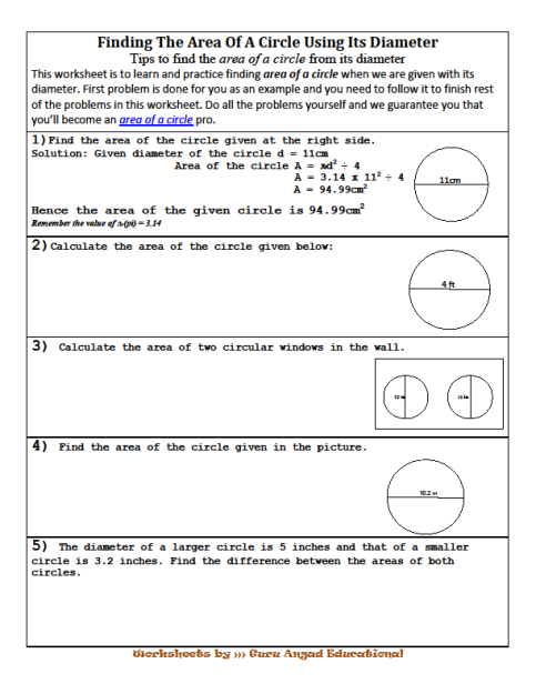 Lessons and worksheets on how to find the area of a circle