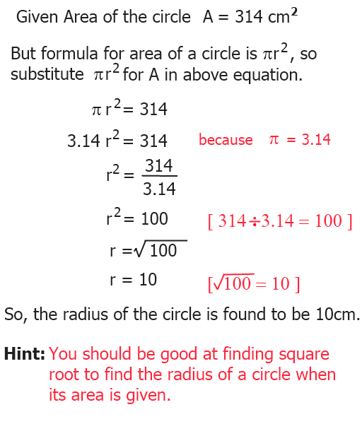 Radius from area how to find the radius of a circle from its area ccuart Image collections